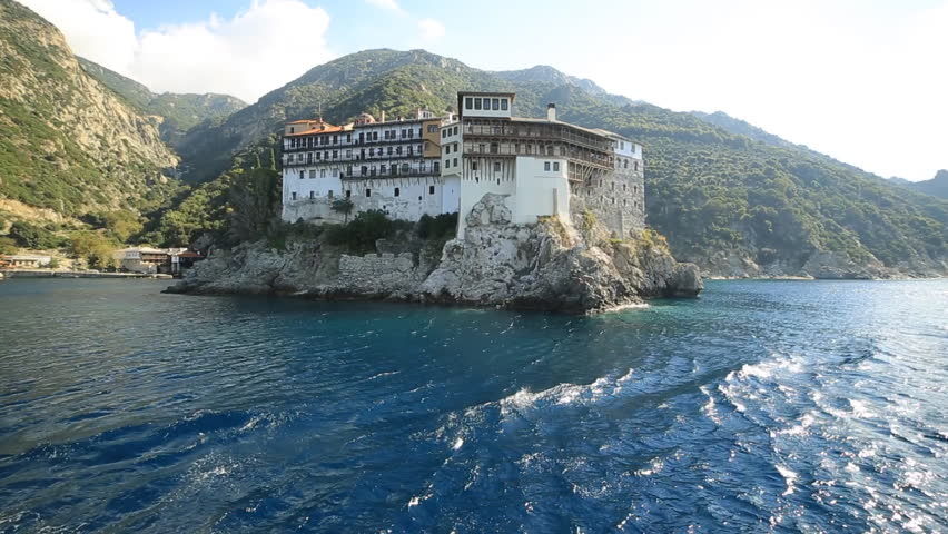 Monastery of Mount Athos Halkidiki Greece view from ferry