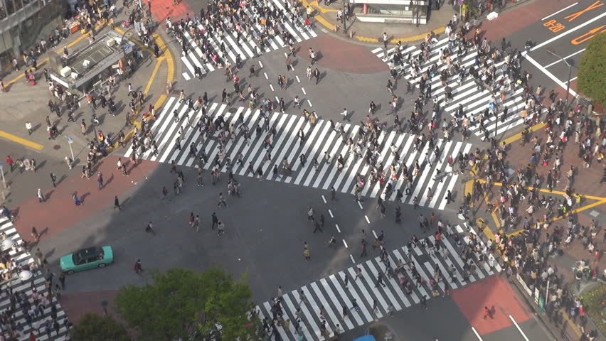 Aerial view of pedestrian people cross busy Shibuya crossing road in Tokyo by day | Shutterstock HD Video #12233066