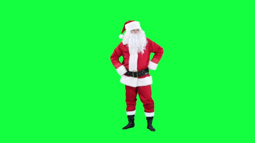 Santa Claus dancing chroma key (green screen). Santa funny dancing isolated on green