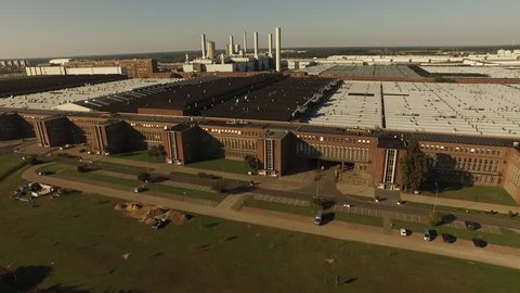 WOLFSURG - OCTOBER 10: Aerial view over the VW plant in Wolfsburg.