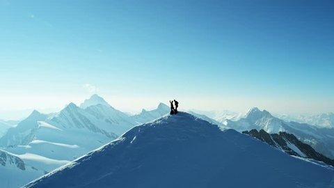Aerial Switzerland Top Of The World sport mountain Alps mountaineering ridge achievement snow climbers Wilderness equipment summit travel