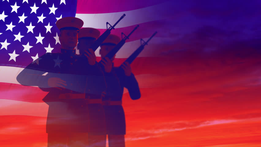 Render of soldiers shooting rifles, saluting against the sky and the American flag