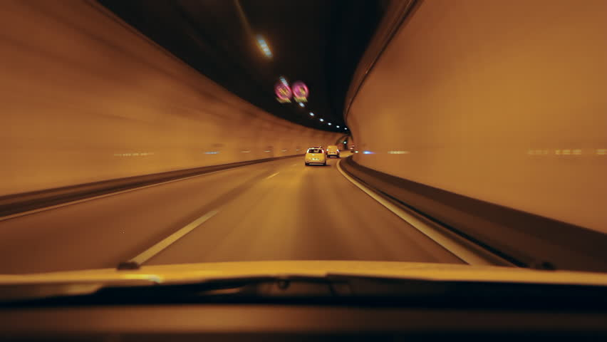 Driving through a tunnel on the A8 Autoroute in Nice, South of France. Time lapse.
