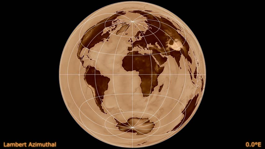 Distortion patterns. Animated world map in the Lambert Azimuthal projection. Shaded elevation map used. Continents darker. Elements of this image furnished by NASA