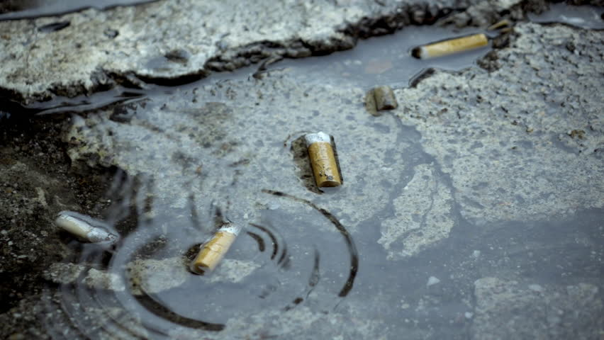 Cigarette butts on street sidewalk/pavement,rain drops super slow motion.250 fps close up shot of used/smoked cigarette butts on the city sidewalk in a puddle of water.Rain dropping in slow motion.