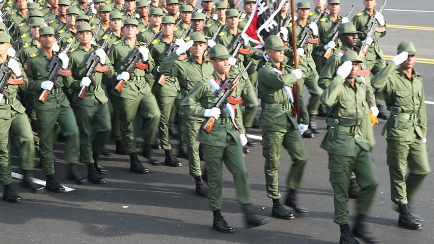 HAVANA - APRIL 17: Cuban soldiers march in parade commemorating the 50th anniversary of the Bay of Pigs, April 17, 2011, Havana, Cuba.