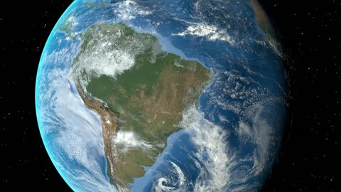 Night to day - rotating Earth. Zoom in on Brazil outlined. Satellite high resolution (86400 px) raster used. Elements of this image furnished by NASA.