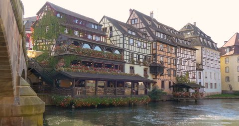Petite France is the historic traditional  architecture houses quarter in old town of Strasbourg, french region of Alsace, Europe, good as european travel medieval landmarks background