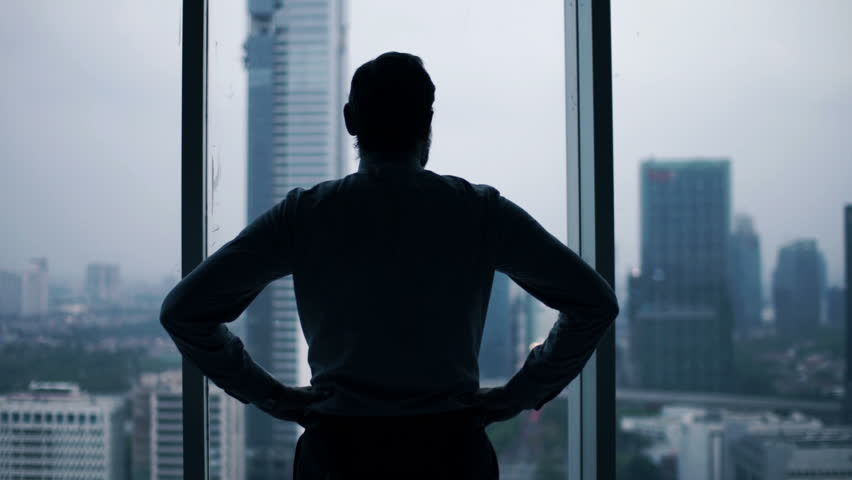 Young businessman admire view from window  | Shutterstock HD Video #12412982