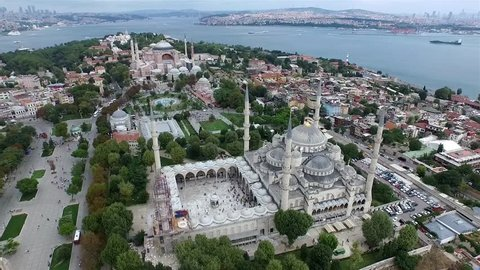 Aerial Footage of Sultanahmet (Blue Mosque) and Hagia Sophia in Istanbul
