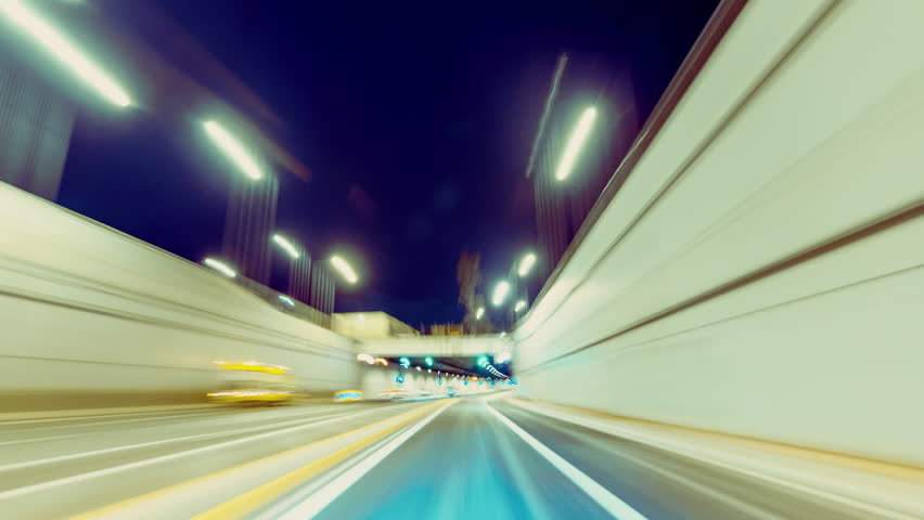 30p Driving pov modern highway timelapse/hyperlapse night, rapid speed, passing a series of tunnels.Camera outside the vehicle giving the illusion of teleporting through an series of turns,and tunnels | Shutterstock HD Video #12429299