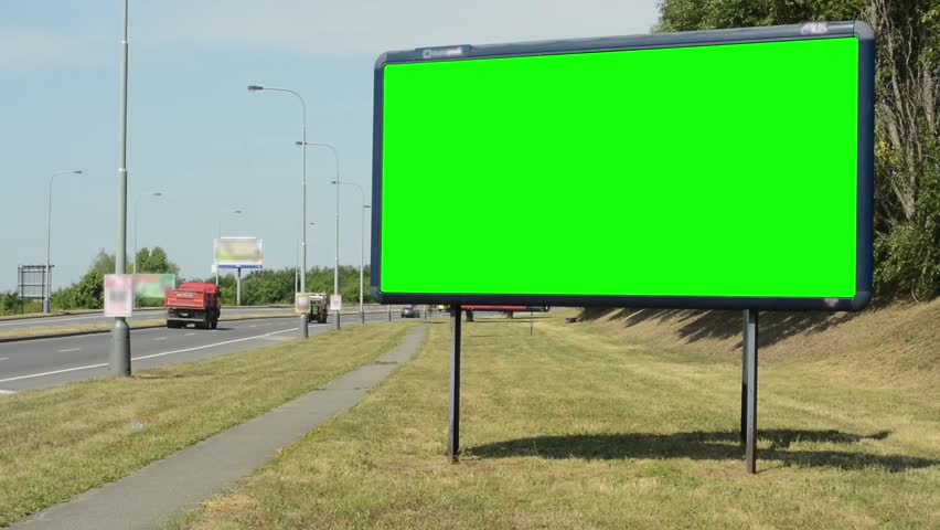 View of the advertising billboard near by the road - green screen | Shutterstock HD Video #12430241