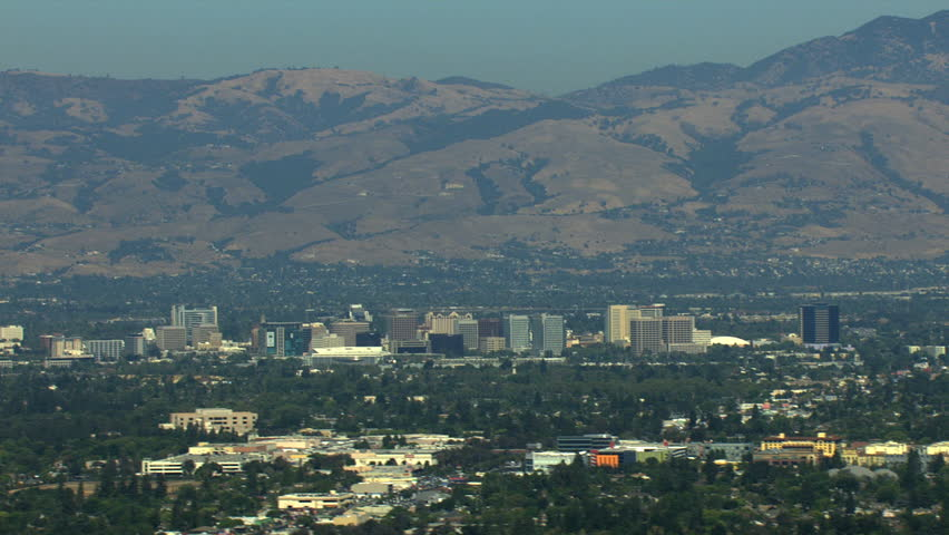 Aerials USA San Jose California suburbs Silicon building tropical