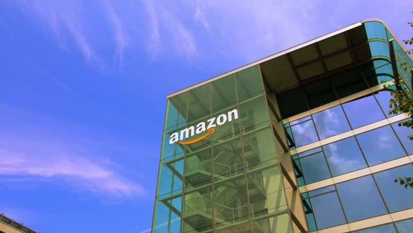 Munich ,Germany  - FEBRUARY 30, 2014: Amazon building in Munich. Amazon is an American international electronic commerce company. It is the world's largest online retailer.