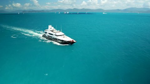 Luxury yacht aerial on idyllic waters
