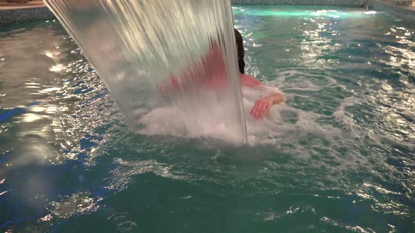 Girl Enjoys Spa Pool Water Jet Massage Stock Footage Video ...