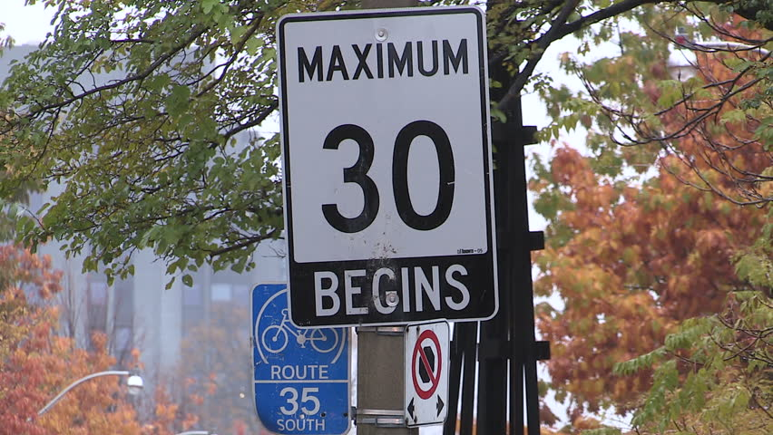 Toronto ontario canada october 2015 toronto 30km hr speed limit sign on residential