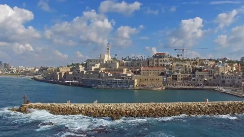 Tel Aviv - Jaffa, Aerial footage moving in from the mediterranean sea