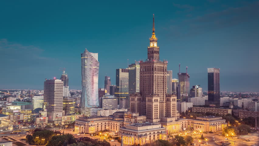 Sunrise over Warsaw Downtown with dynamic clouds - Timelapse, Polish Capital. Vintage colors