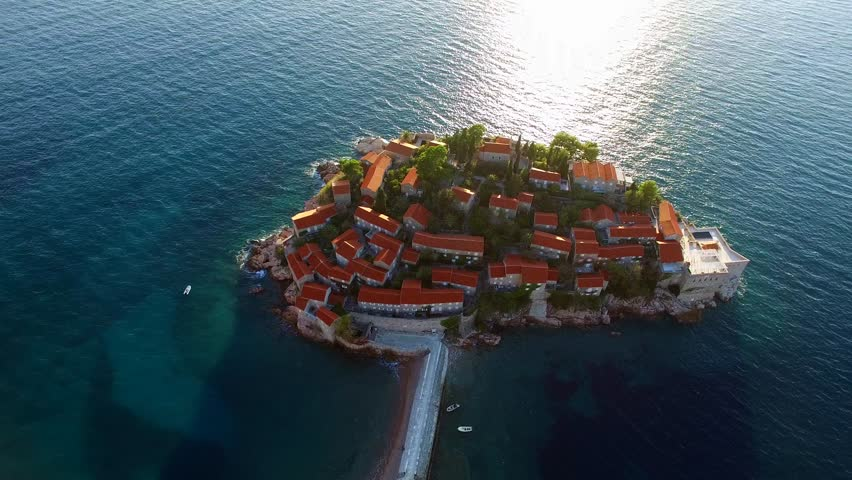 Stock Video Of The Island Sveti Stefan From