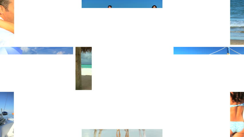 Montage collection of people enjoying life on the beach & on the ocean