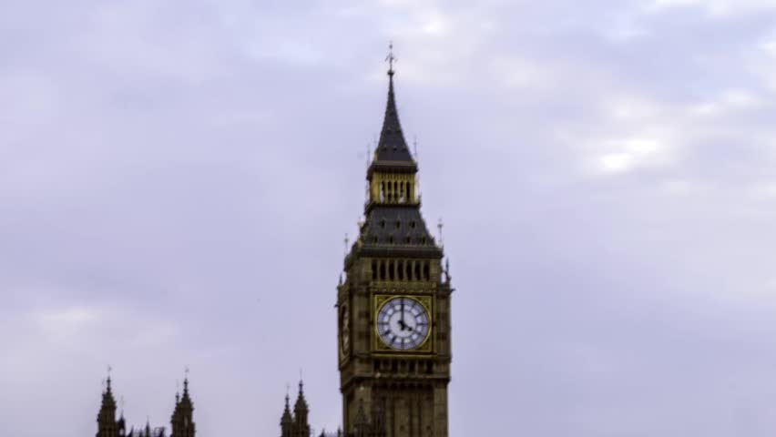 Timelapse close up view of the clock of the Big Ben at the House of Parliament in London | Shutterstock HD Video #12604289