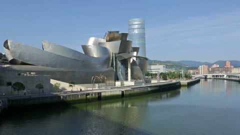 BILBAO, SPAIN - JULY 4, 2015:  Guggenheim Museum Bilbao is  museum of modern and contemporary art, designed by Canadian-American architect Frank Gehry. Bilbao, Basque Country