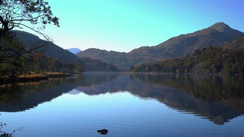 Wales, UK - September 2015 - Static view of Llyn Dinas, a lake in North Wales Snowdonia National Park