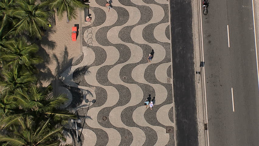 Flying directly above Copacabana Beach iconic sidewalk, Rio de Janeiro, Brazil | Shutterstock HD Video #12690875