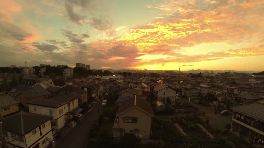 Sunset of Japanese residential area