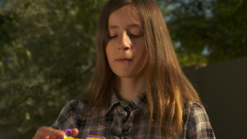 4k. Young girl blows bubbles on sunny day. Slow Motion. | Shutterstock HD Video #12739799