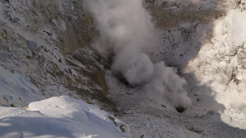 MS HA TU Elevated view of smoke coming out of volcanic crater / Mount Erebus, Antarctica