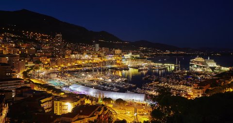 MONACO, MONTE-CARLO, 06.09.2015: Port Hercules on the sunset, port de Hercule, marina, timelapse 4k