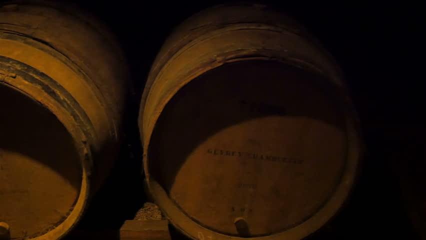storage oak wine barrels. Bottom Of The Wine Barrels Inside Cellar. Cellar Is Storage Oak