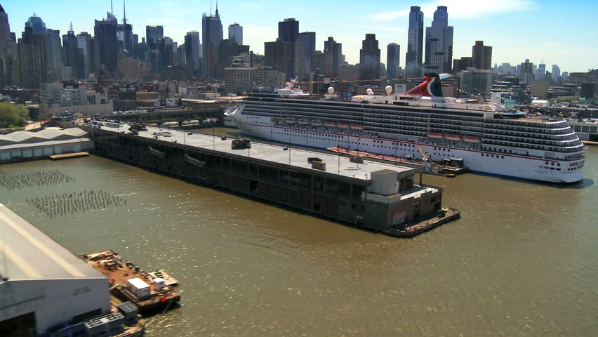 NEW YORK - MAY 7: Aerial view of a cruise liner and the USS Intrepid Museum New York with Concorde May 7, 2011 New York, NY.