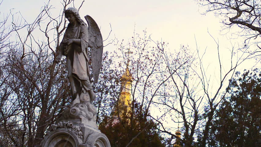 Angel With Wings On The Background Of Old Church Dark Gothic Graveyard Stock Footage Video 12817949