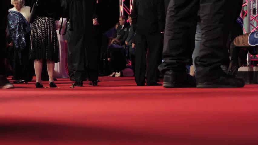Close up Feet Walking by at Red Carpet Premiere Event