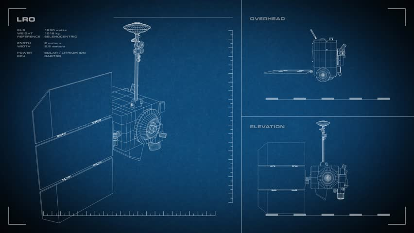Stock video of looping animated orthographic engineering blueprint 4k0020looping animated orthographic engineering blueprint of lunar reconnaissance orbiter spacecraft displayed specs are accurate malvernweather Choice Image