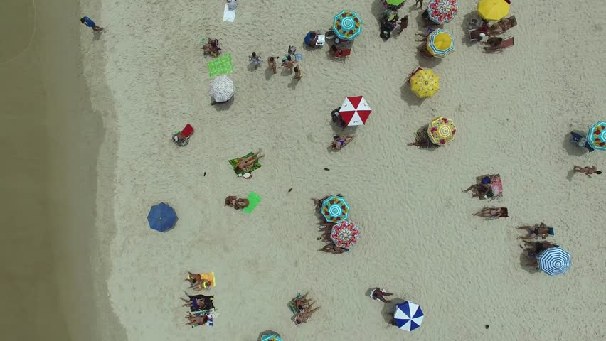 Top View of Crowd of People in a Beach, Rio de Janeiro, Brazil