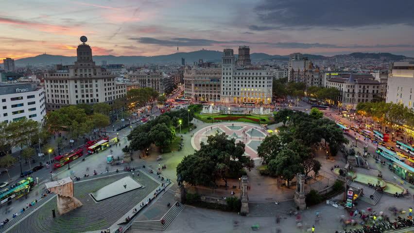 barcelona sunset till night placa de catalunya roof top panorama 4k time lapse spain