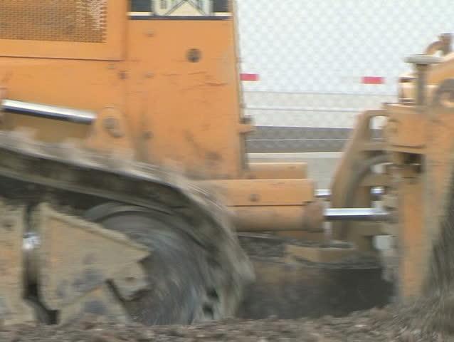 Bulldozer Pushing Dirt