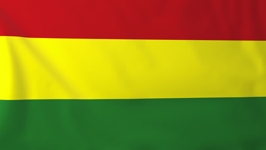 Flag of Bolivia, slow motion waving. Rendered using official design and colors. Highly detailed fabric texture. Seamless loop in full 4K resolution. ProRes 422 codec.