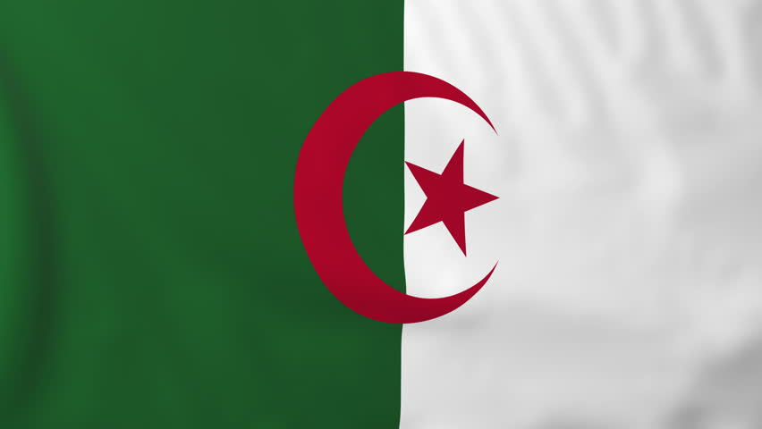 Flag of Algeria, slow motion waving. Rendered using official design and colors. Highly detailed fabric texture. Seamless loop in full 4K resolution. ProRes 422 codec.