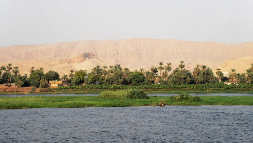 View of the banks of the Nile between Luxor and Kom Ombo
