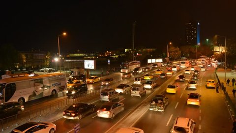 Time-lapse of E5 road, a traffic nightmare. Istanbul has the second worst congestion in the world, traffic jam in Bak?rkoy.