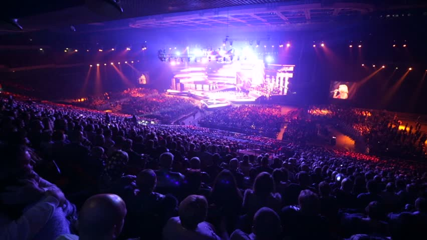 """MOSCOW, RUSSIA - NOVEMBER 14, 2015: Huge concert hall with lots of spectators. Concert of russian chanson """"Eh Razguliay"""" (Eh, Partying!) inside Olympic concert hall. #12945359"""