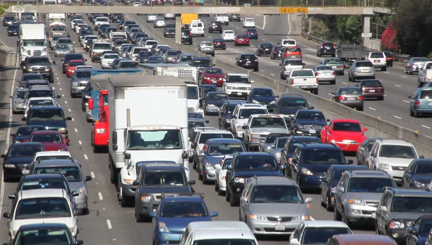 los angeles august 4 thousands of cars drive on california freeway on august 4
