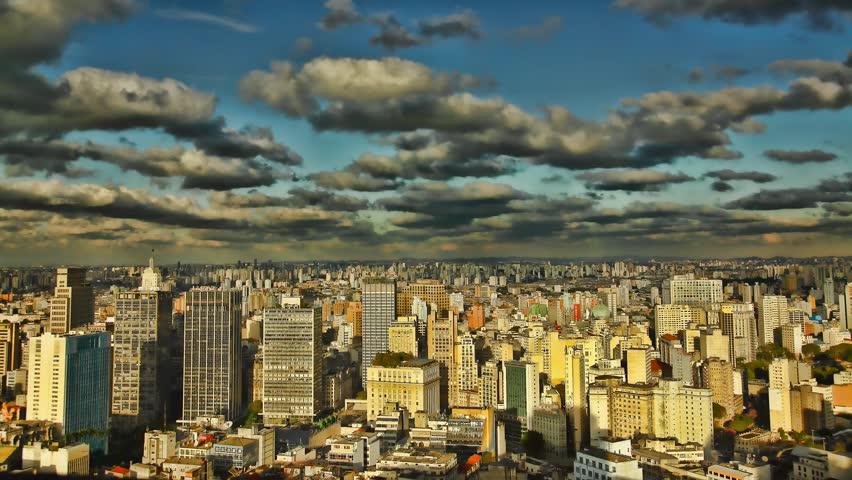 Sao Paulo Brazil skyline sunset time lapse
