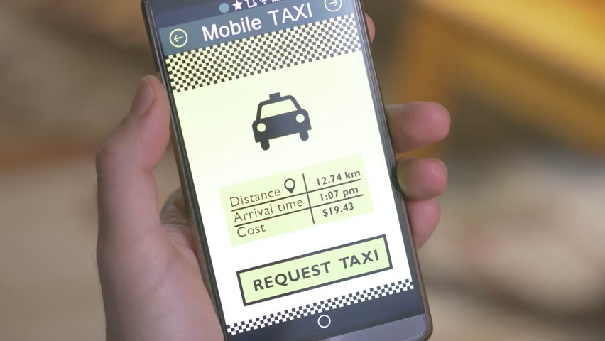 Hail a taxi cab with a smartphone app. E-hailing is a process of ordering a car, taxi, limousine, or any other form of transportation pick up via virtual devices: computer or mobile device.