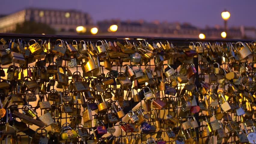 Paris, hundreds of love locks on a bridge, Pont Neuf | Shutterstock HD Video #13020899